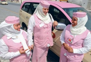 *  Mary Rose Tejero, left, Olga Shomina, centre, and Najla Omar, proud Pink Taxi drivers     * Image Credit: Xpress/FRANCOIS NEL