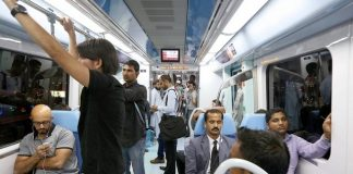 People travelling on the Dubai Metro. Pawan Singh / The National